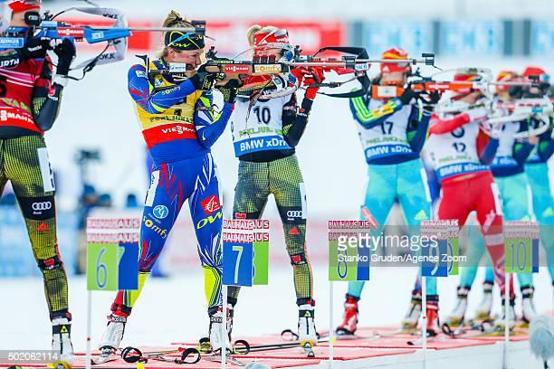 Marie DorinHabert of France competes during the IBU Biathlon World Cup Men's and Women's Mass Start on December 20 2015 in Pokljuka Slovenia