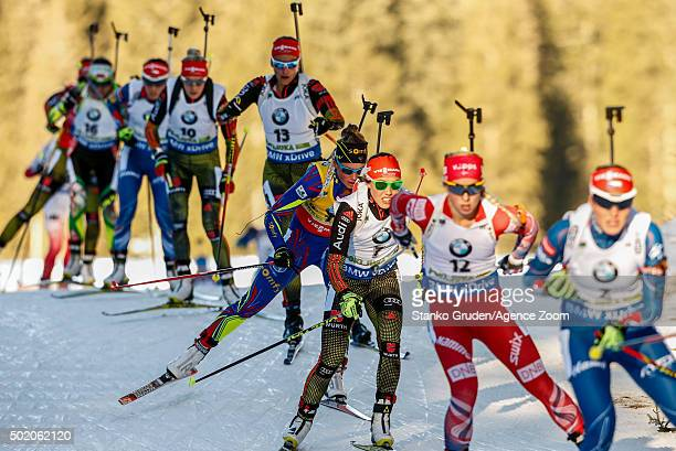 Marie DorinHabert of France competes during the IBU Biathlon World Cup Men's and Women's Mass Start on December 20 2015 in Pokljuka Slovenia