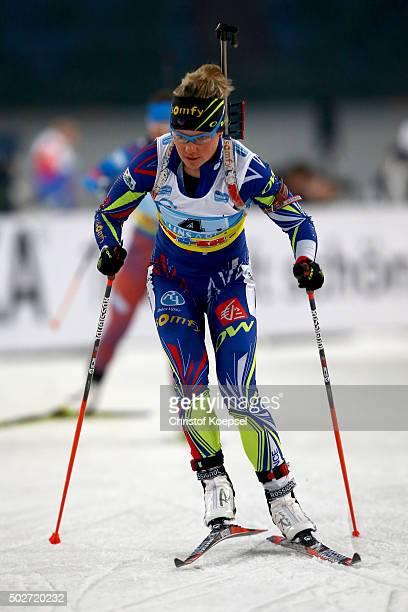 Marie Dorin-Habert of France skastes during the IKK classic Biathlon World Team Challenge 2015 at Veltins-Arena on December 28, 2015 in...