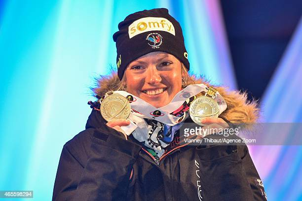 Marie DorinHabert of France takes 1st place during the IBU Biathlon World Championships Men's and Women's Pursuit on March 08 2015 in Kontiolahti...