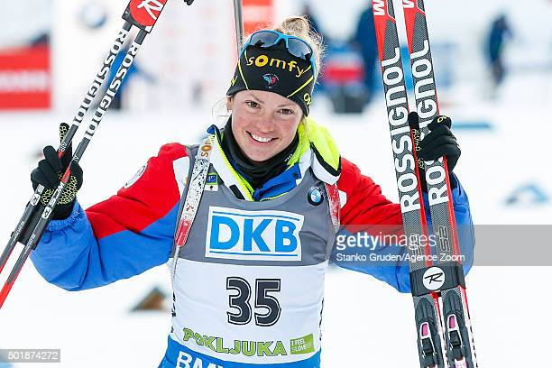 Marie DorinHabert of France takes 1st place during the IBU Biathlon World Cup Women's Sprint on December 18 2015 in Pokljuka Slovenia