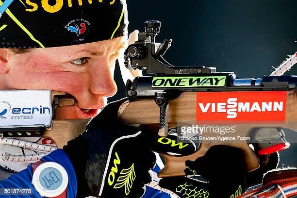 Marie Dorin-Habert of France takes 1st place during the IBU Biathlon World Cup Women's Sprint on December 18, 2015 in Pokljuka, Slovenia.