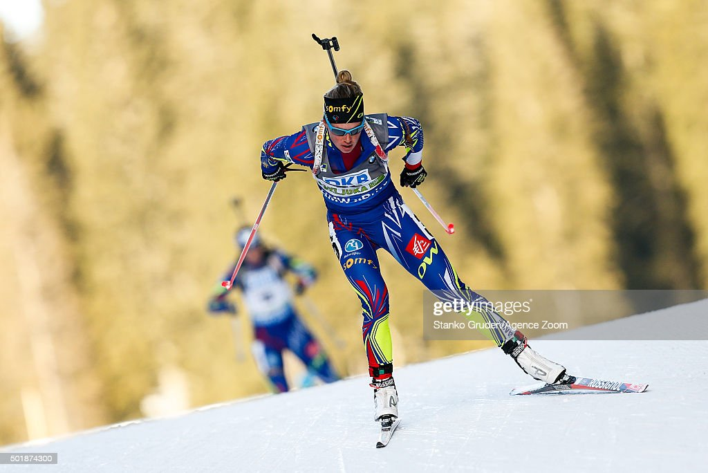 Marie Dorin-Habert of France takes 1st place during the IBU Biathlon World Cup Women's Sprint on December 18, 2015 in Pokljuka, Slovenia.