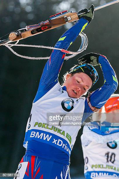 Marie DorinHabert of France takes 2nd place during the IBU Biathlon World Cup Men's and Women's Pursuit on December 19 2015 in Pokljuka Slovenia