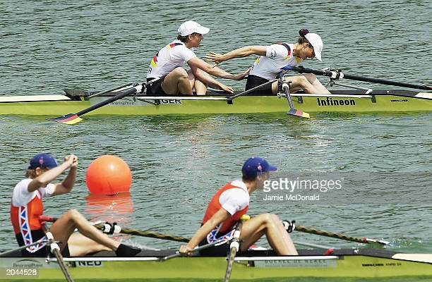 Marie Draeger and Claudia Blasburg of Germany win Gold during the Women's Lightweight Double Sculls Final during the Rowing World Cup on May 31 2003...