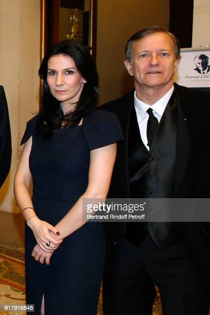 Marie Drucker and Francis Huster attend the Tribute to ELie Wiesel by Maurice Levy X Publicis Group at La Sorbonne on January 29 2018 in Paris France
