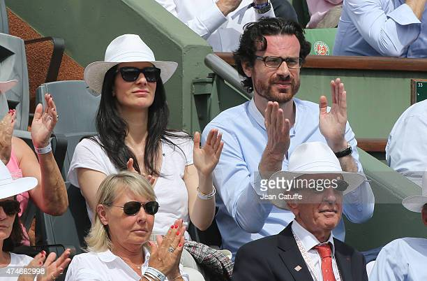 Marie Drucker and her boyfriend Mathias Vicherat attend day 1 of the French Open 2015 held at Roland Garros stadium on May 24 2015 in Paris France