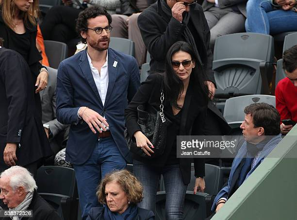 Marie Drucker and her husband Mathias Vicherat attend the Men's Singles final between Novak Djokovic of Serbia and Andy Murray of Great Britain on...