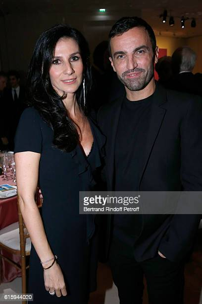 Marie Drucker and Stylist Nicolas Ghesquiere attend the Icones de l'Art Moderne La Collection Chtchoukine Cocktail at Fondation Louis Vuitton on...