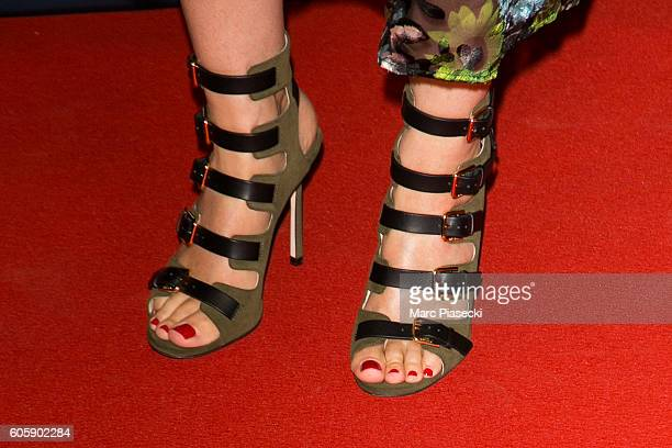 Marie Drucker shoe detail attends the 'Juste la Fin du Monde' Premiere at Mk2 Bibliotheque on September 15 2016 in Paris France