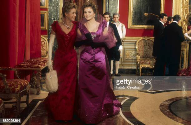 Marie Dubois and Laura Antonelli acting in the 1976 Italian movie L'Innocente , director Luchino Visconti's last film, based on an 1892 novel by...