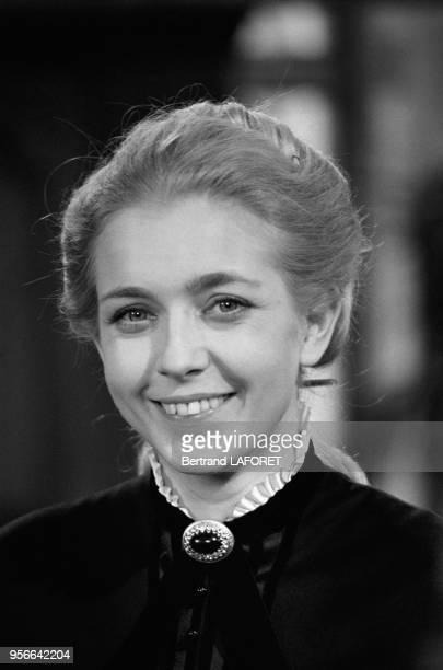 Marie Dubois lors du tournage du téléfilm 'L'Heure éblouissante' le 10 avril 1971 France