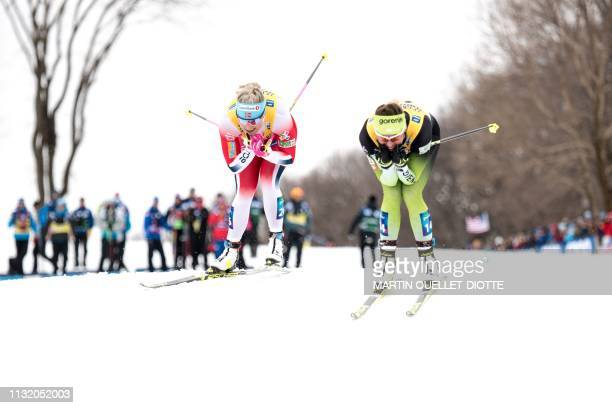 TOPSHOT Marie Eide of Norway races with Slovenian Anamarija Lampic during the women's sprint competition on March 22 on the first day of the FIS...