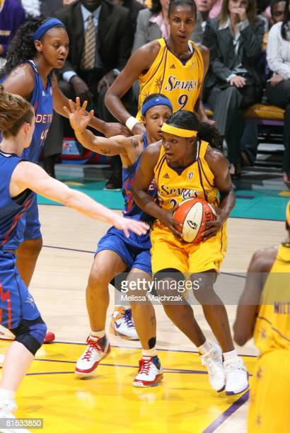 Marie FerdinandHarris takes the ball into the key against the Detroit Shock at Staples Center on June 11 2008 in Los Angeles California NOTE TO USER...