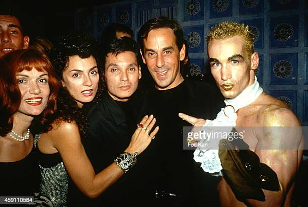 Marie France Yana Katsoulos Thierry Ardisson and Jean Claude Lagreze attend a fashion week Party at Les Bains Douches in the 1990s in Paris France