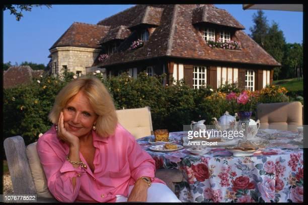 Marie France Zorbibe Having Tea Outdoors