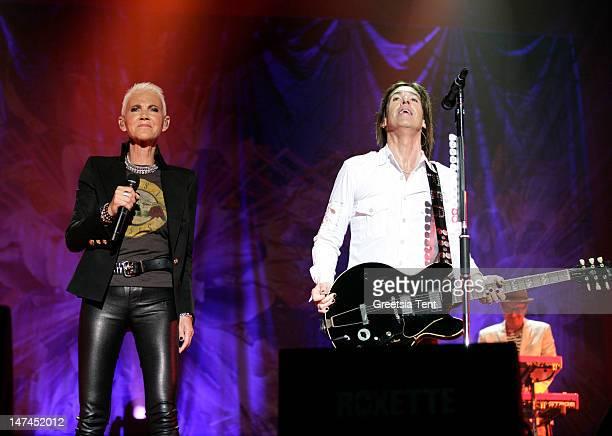 Marie Fredriksson and Per Gessle of Roxette perform at Heineken Music Hall on June 29 2012 in Amsterdam Netherlands