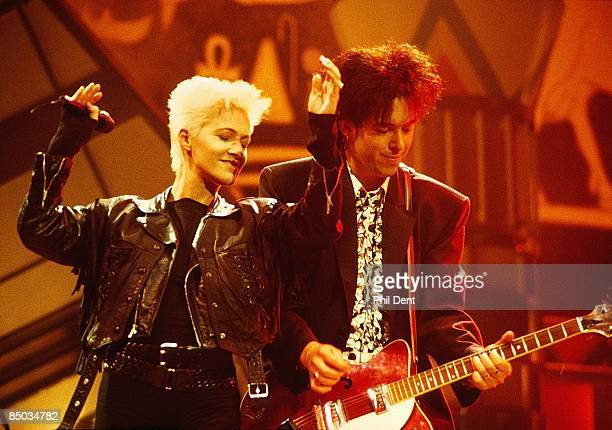 Marie Fredriksson and Per Gessle of Roxette perform on stage at the Smash Hits Poll Winners Party Docklands Arena London 11th November 1990