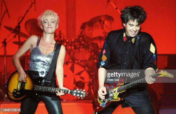 Marie Fredriksson and Per Gessle of Roxette perform on stage on the 'Join The Joyride' tour at Wembley Arena on October 19th, 1991 in London, England.
