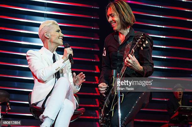 Marie Fredriksson and Per Gessle of Roxette performs at The O2 Arena on July 13, 2015 in London, England.