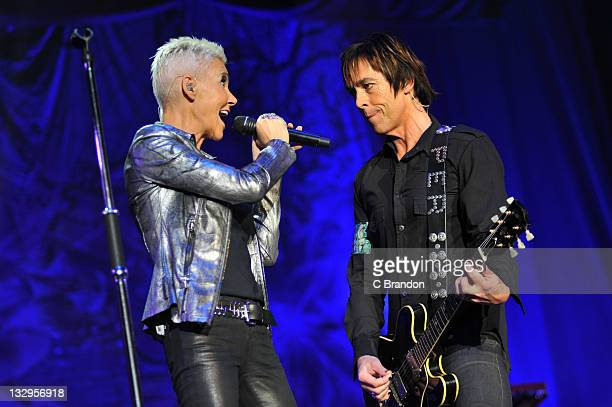Marie Fredriksson and Per Gessle of Roxette performs on stage at Wembley Arena on November 15 2011 in London United Kingdom