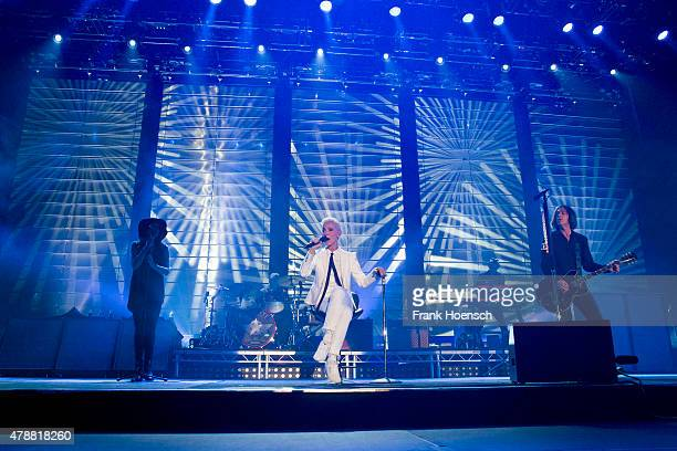 Marie Fredriksson and Per Gessle of the Swedish band Roxette perform live during a concert at the O2 World on June 27 2015 in Berlin Germany