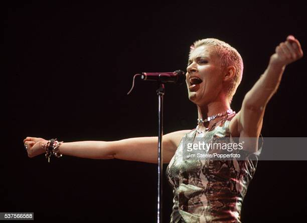 Marie Fredriksson of Roxette performing on stage at Wembley Arena in London on the 8th November 1994