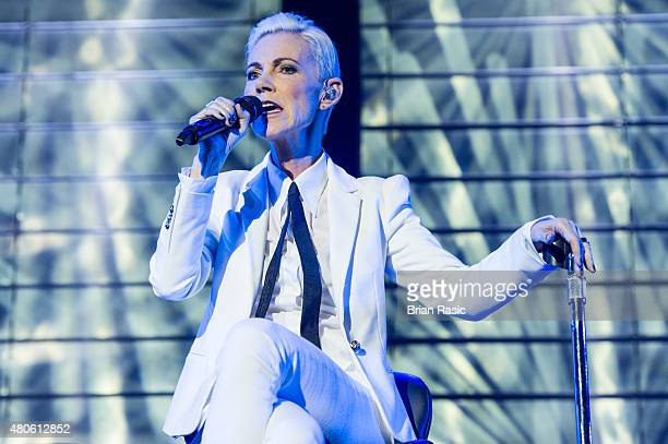 Marie Fredriksson of Roxette performs at The O2 Arena on July 13, 2015 in London, England.