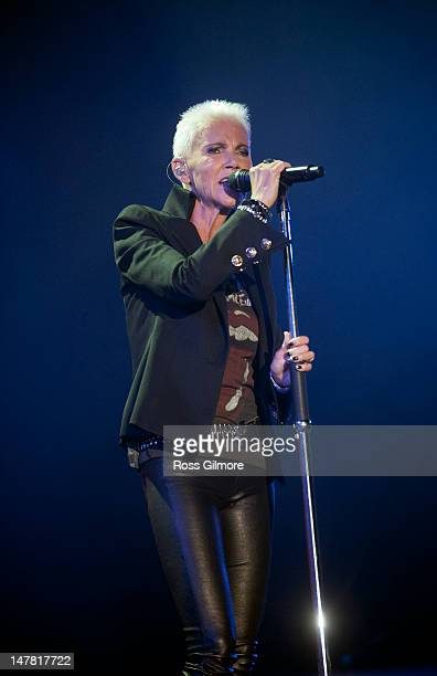 Marie Fredriksson of Roxette performs on stage at SECC on July 3 2012 in Glasgow United Kingdom
