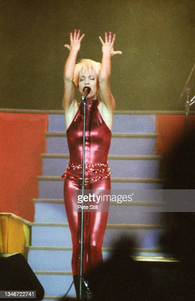 Marie Fredriksson of Roxette performs on stage on the 'Join The Joyride' tour at Wembley Arena on October 19th, 1991 in London, England.