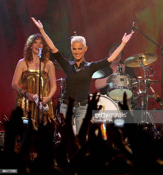 Marie Fredriksson reunites with Roxette member Per Gessle at Melkweg on May 6 2009 in Amsterdam Netherlands
