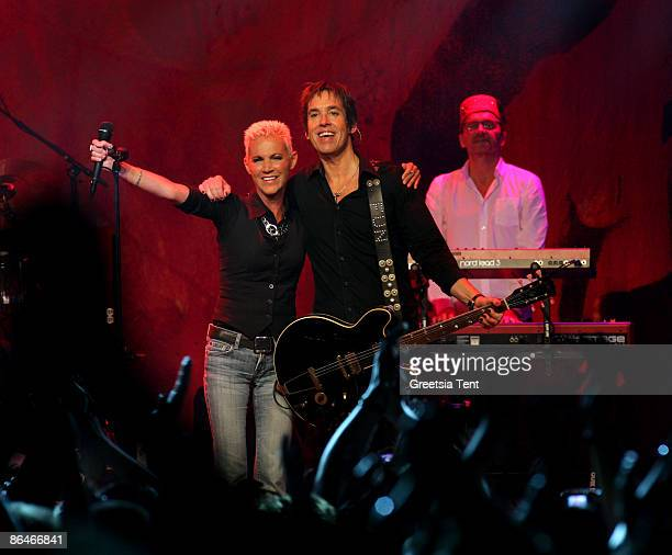 Marie Fredriksson reunites with Roxette member Per Gessle during his concert at Melkweg on May 6 2009 in Amsterdam Netherlands