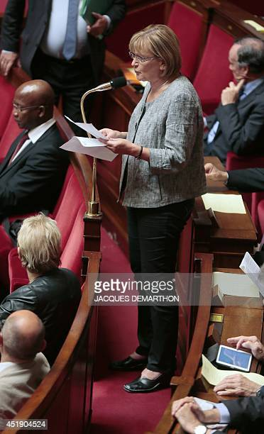 Marie George Buffet Communist party member of parliament representing Seine StDenis speaks during a session of questions to the government at the...