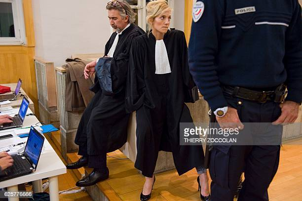 Marie Grimaud and Rodolphe Constantino lawyers of the civil party look on after the verdict on the 10th day of the trial of Cecile Bourgeon and her...