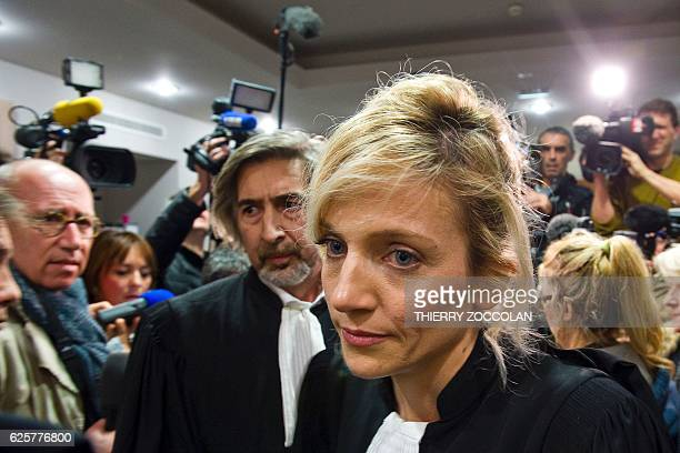 Marie Grimaud and Rodolphe Constantino lawyers of the civil party walk past members of the press after the verdict on the 10th day of the trial of...