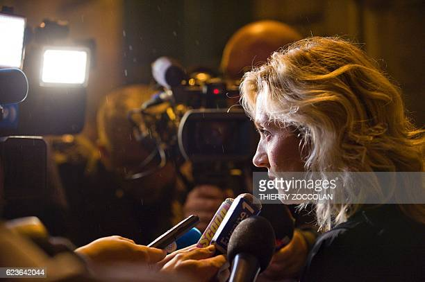 Marie Grimaud lawyer of the civil party speaks to journalists at the end of the third day of trial in the case of Cecile Bourgeon and her former...