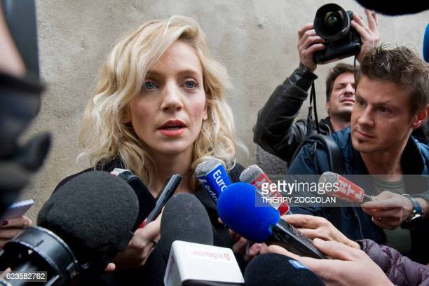 Marie Grimaud plaintiffs lawyer answers journalists' questions on November 16 2016 at the courthouse in Riom near ClermontFerrand central France...