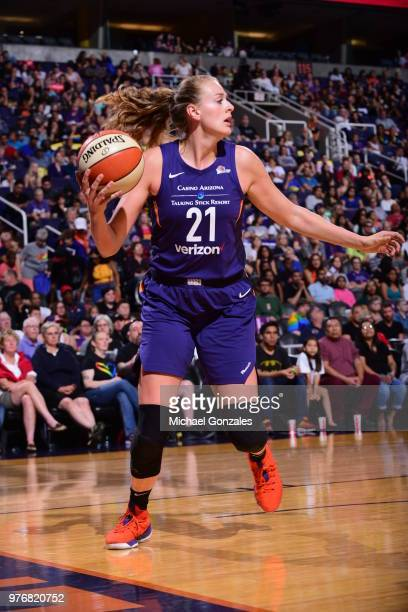 Marie Gulich of the Phoenix Mercury handles the ball against the Connecticut Sun on June 16 2018 at Talking Stick Resort Arena in Phoenix Arizona...