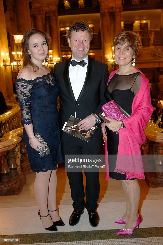 Marie Haim-Swarovski, Klaus Haim and Evelyn Haim-Swarovski attend Le Chant De La Terre AROP Charity Gala At Opera Garnier In Paris on March 4, 2015 in Paris, France.