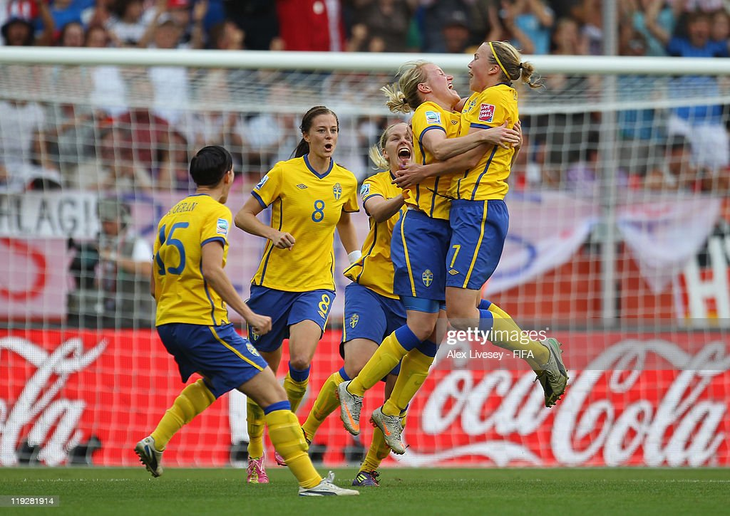 Marie Hammarstrom of Sweden celebrates with team mates after scoring her goal during the FIFA Women's World Cup 3rd Place Playoff between Sweden and France at Rhein-Neckar Arena on July 16, 2011 in Sinsheim, Germany.