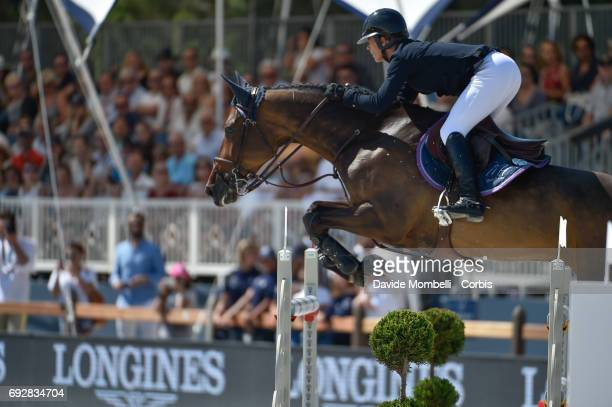 Marie Hecart of France riding Cenwood Delle Lame during the Longines Grand Prix Athina Onassis Horse Show on June 3 2017 in St Tropez France