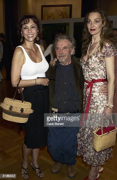 Marie Helvin David Bailey and wife Catherine attend the Saatchi Gallery Opening in County Hall on April 16 2003 in London