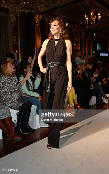 Marie Helvin walks the runway at the first Fifty Plus Fashion Week hosted by JD Williams at Cafe Royal on February 18, 2016 in London, England.