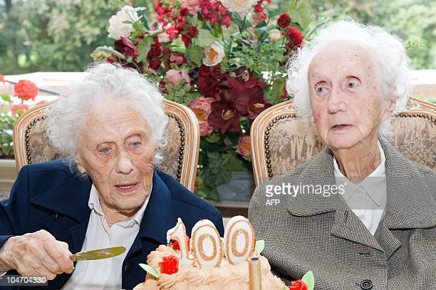 Marie Hendrix and Gabrielle Vaudremer 100yearold Belgian twins celebrate their birthday at the Senior Assist elderly home in Spa on October 2 2010...