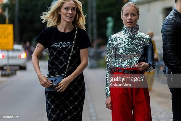 Marie Hindkaer Wolthers and Thora Valdimars outside Lovechil during the second day of the Copenhagen Fashion Week Spring/Summer 2017 on August 11...