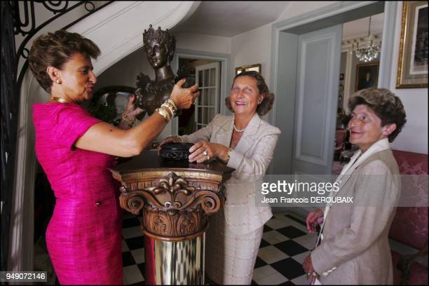 Marie Hortense and Josephine Tascher de la Pagerie empress Josephine's last descendants in their country estate With a bust of Josephine de...