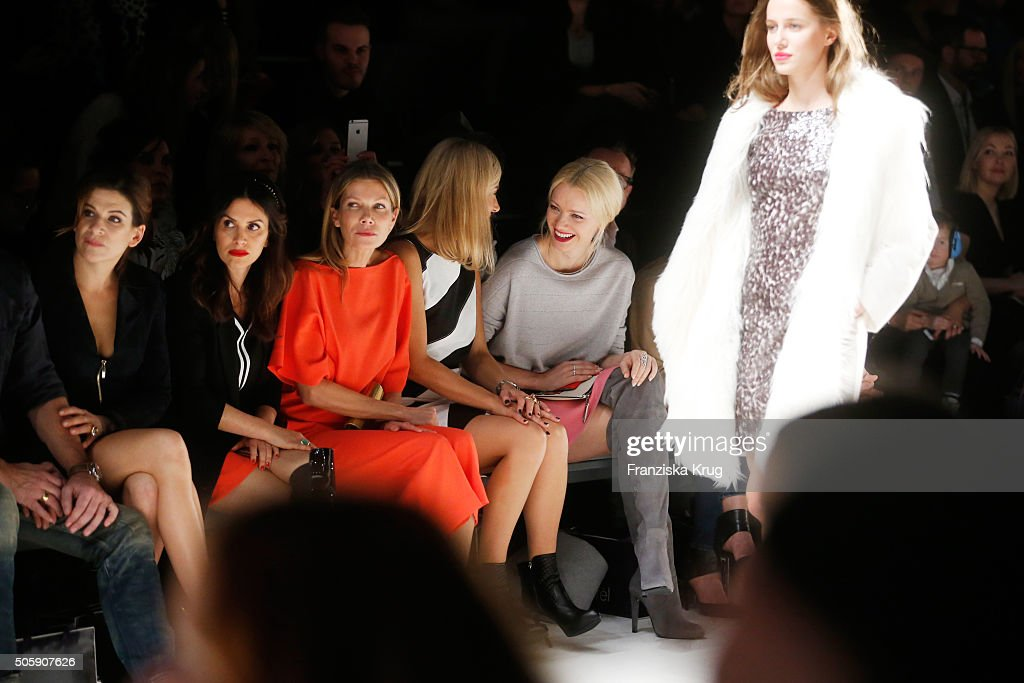 Marie Jeanette Ferch, Viktoria Lauterbach, Ursula Karven, Judith Milberg and Franziska Knuppe attend the Laurel show during the Mercedes-Benz Fashion Week Berlin Autumn/Winter 2016 at Brandenburg Gate on January 20, 2016 in Berlin, Germany.