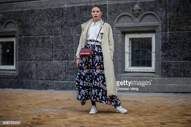 Marie Jensen outside Tonsure during the Copenhagen Fashion Week Autumn/Winter 2016 on February 3 2016 in Copenhagen Denmark