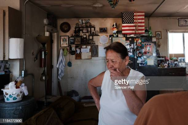 Marie Jones, a member of the Navajo Nation, receives her monthly water delivery in the town of Thoreau on June 06, 2019 in Thoreau, New Mexico. Due...