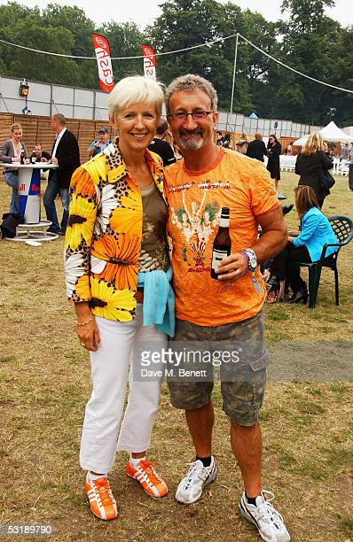 Marie Jordan and Formula One Team boss Eddie Jordan pose at Live 8 London in Hyde Park on July 2 2005 in London England The free concert is one of...